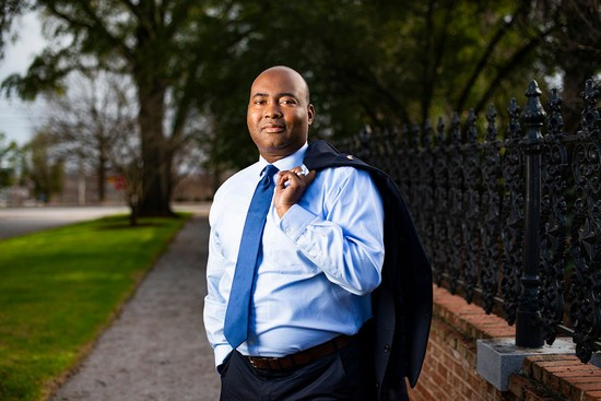 Portrait of Jaime Harrison, candidate running against Lindsey Graham for Senate, Friday afternoon, January 10, 2020 at Finlay Park in Columbia, South Carolina...CREDIT: Swikar Patel for Mother Jones