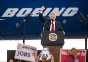 NORTH CHARLESTON, SC - FEBRUARY 17: U.S. President Donald Trump addresses a crowd during the debut event for the Dreamliner 787-10 at Boeing's South Carolina facilities on February 17, 2017 in North Charleston, South Carolina. The airplane begins flight testing later this year and will be delivered to airline customers starting in 2018. (Photo by Sean Rayford/Getty Images)