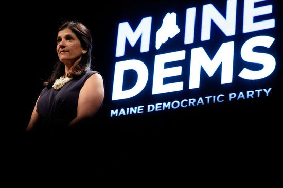 LEWISTON, ME - MAY 19: House Speaker Sara Gideon, D-Freeport, satnds onstage during the biannual Democratic state convention on Saturday in Lewiston. (Staff photo by Ben McCanna/Portland Press Herald via Getty Images)