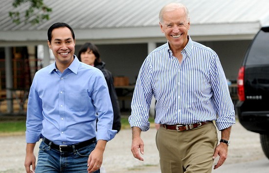 INDIANOLA, IOWA - SEPTEMBER 15: (R - L) U.S. Vice President Joe Biden, San Antonio Mayor Julian Castro, and U.S. Sen. Tom Harkin arrive at the 36th Annual Harkin Steak Fry on September 15, 2013 in Indianola, Iowa. Sen. Harkin's Democratic fundraiser is one of the largest in Iowa each year. (Photo by Steve Pope/Getty Images)
