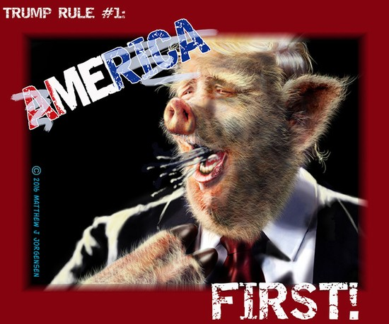 Donald Trump Pig working for America First