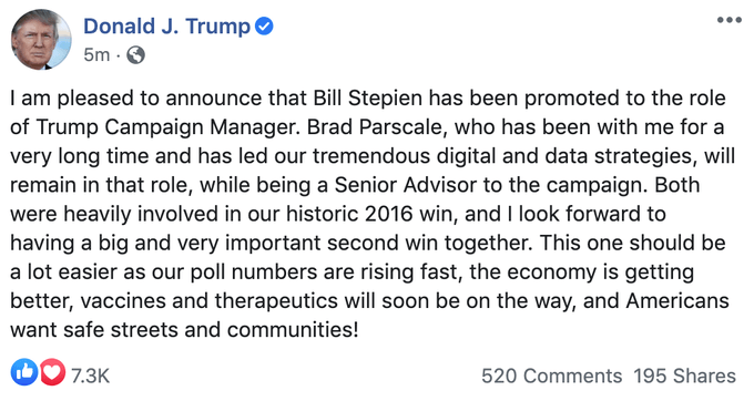 , Brad Parscale out as Trump campaign manager (Remember the Manafort!), The Politicus