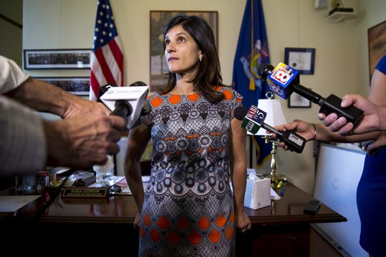 AUGUSTA, ME - JULY 3: Speaker of the House Sara Gideon talks the the press in her office at the Maine State House during the third day of the state government shutdown. Rep. Gideon said that they were not planning on budging on the lodging tax. (Staff photo by Brianna Soukup/Portland Portland Press Herald via Getty Images)