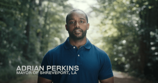 Screenshot from 2020 Senate campaign announcement video for Shreveport Mayor Adrian Perkins (D)