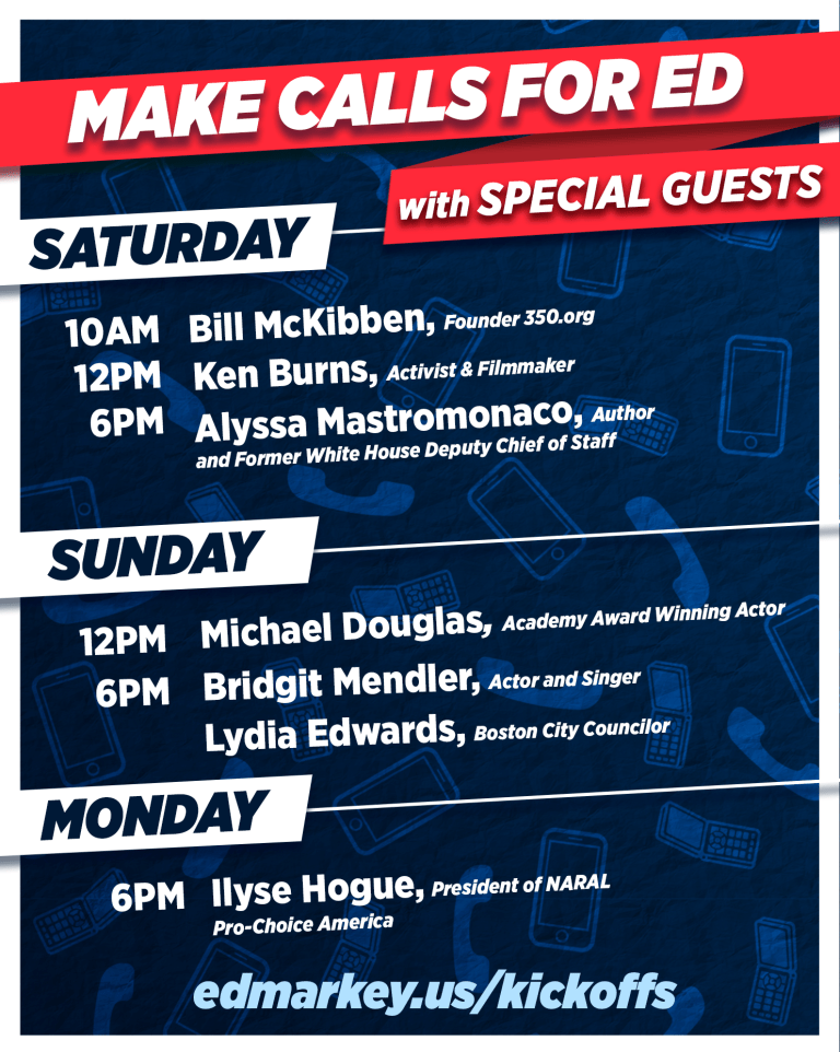 MA-Sen: Markey (D) Launches Dial Out The Vote Weekend Of Action With Michael Douglas & Ken Burns