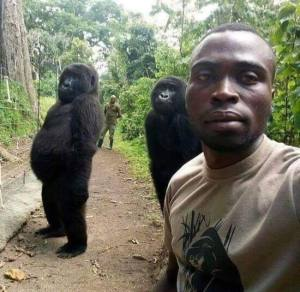 Ranger selfie with his buddies. The rangers protect the Gorillas from poachers in the Congo.