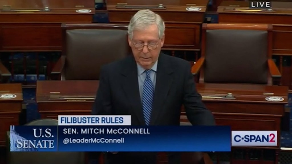 Mitch McConnell is trying to scare Democrats from killing the filibuster.