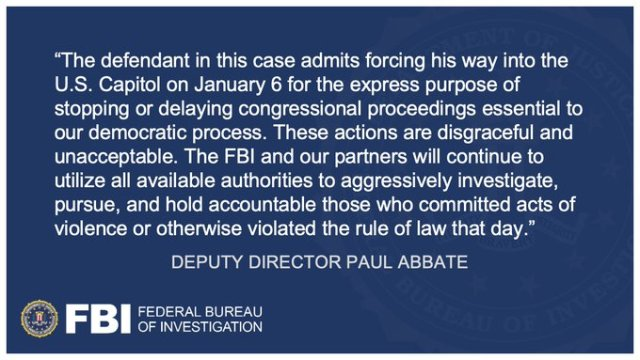 Deputy Director Paul Abbate commented on Jon Schaffer's guilty plea. http://ow.ly/ooN150EqCif