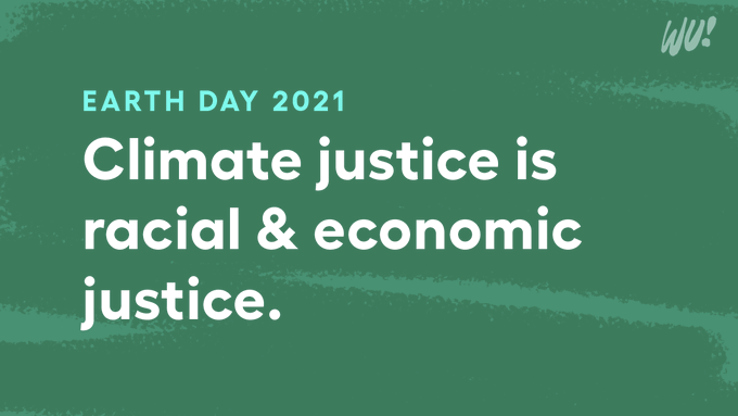 Green graphic reading EARTH DAY 2021 in cyan text, and