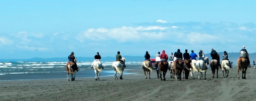 horseback riding on the beach in Ocean Shores