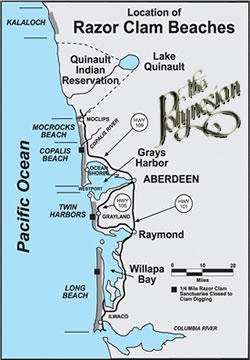 Razor clam beach map