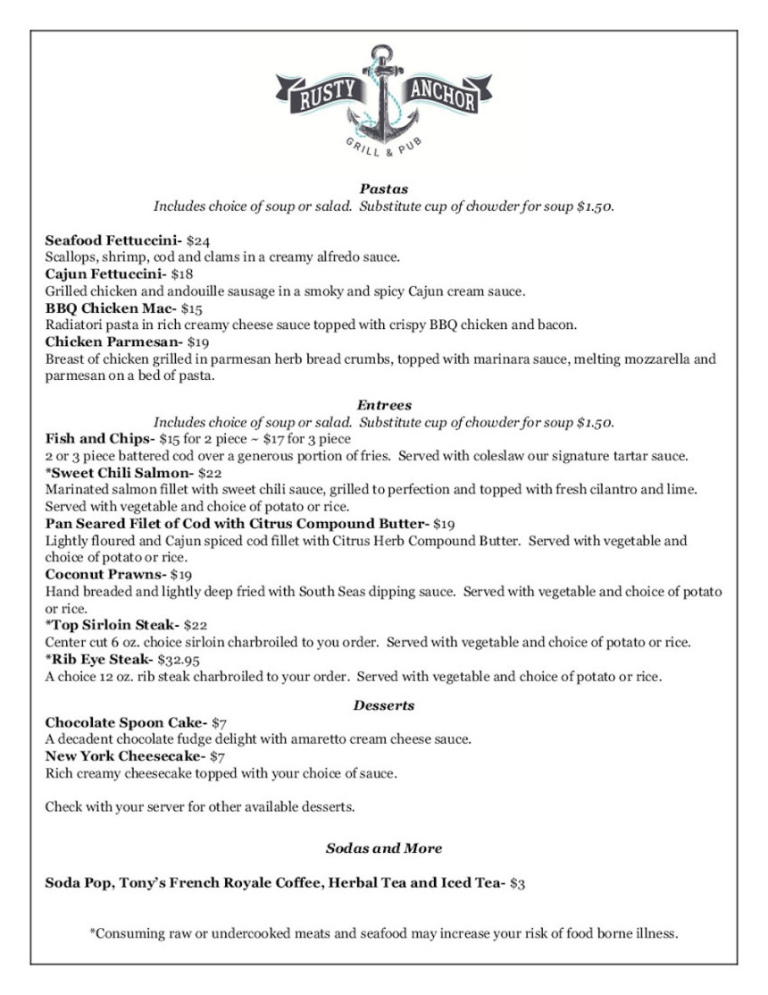 rusty anchor, dinner menu, page 2