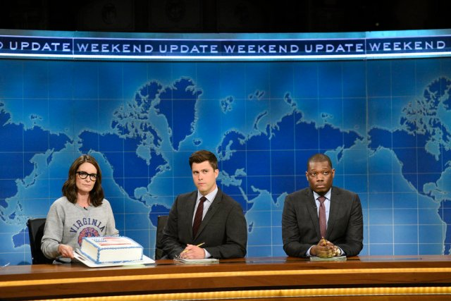 Tina Fey with a sheet cake on Weekend Update