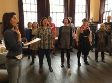 The Pop-Up Choir rehearsing with Esmerelda Ruiz at the Union Chapel