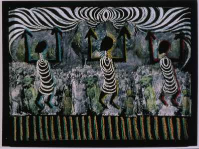 All this County Belongs to Us shows Batya's African influence in a work that has appeared in a previous show. Everyone is invited to an Opening Reception to speak with Batya about her new works. Photo: African