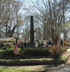 Georgia Battlefields Association members from all over the state walked the Battle of Atlanta Battlefield in East Atlanta and stopped at the McPherson Monument to hear about the General's death on that spot. Photo by Georgia Battlefields Association.