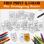 Mini Thanksgiving Banner Freebie – Print & Color