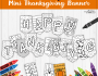 Thanksgiving Mini Banner Color and Print Page