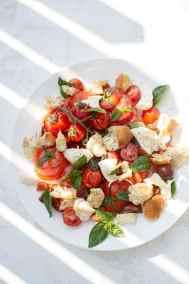 Tomato, bread, olive and basil salad