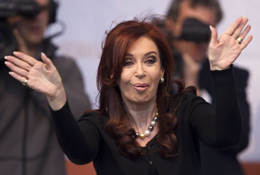 Argentina's President Cristina Fernandez waves to supporters during the inauguration of a health center in Buenos Aires, Argentina, Tuesday, Oct. 25, 2011. Fernandez was re-elected in a landslide Sunday, winning with the widest victory margin in the country's history as voters were mobilized by popular programs that spread the wealth of a booming economy. (AP Photo/Victor R. Caivano)