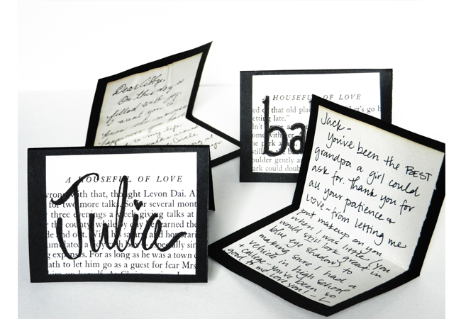 DIY Place Cards Made from Vintage Book Pages (With Appreciation Notes Inside!) | The Postman's Knock by Lindsey Bugbee
