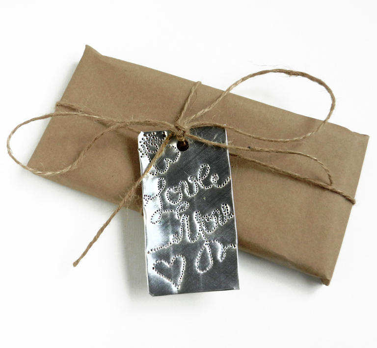 Aluminum Gift Tag Tutorial | The Postman's Knock by Lindsey Bugbee
