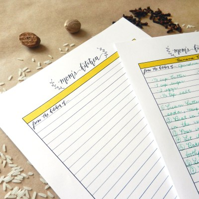 Printable Recipe Card Template for Mom