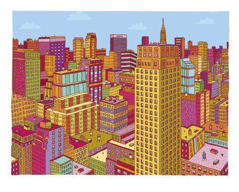 Manhattan #2 Print by Andy Pratt Design | Small Gift Idea - The Postman's Knock