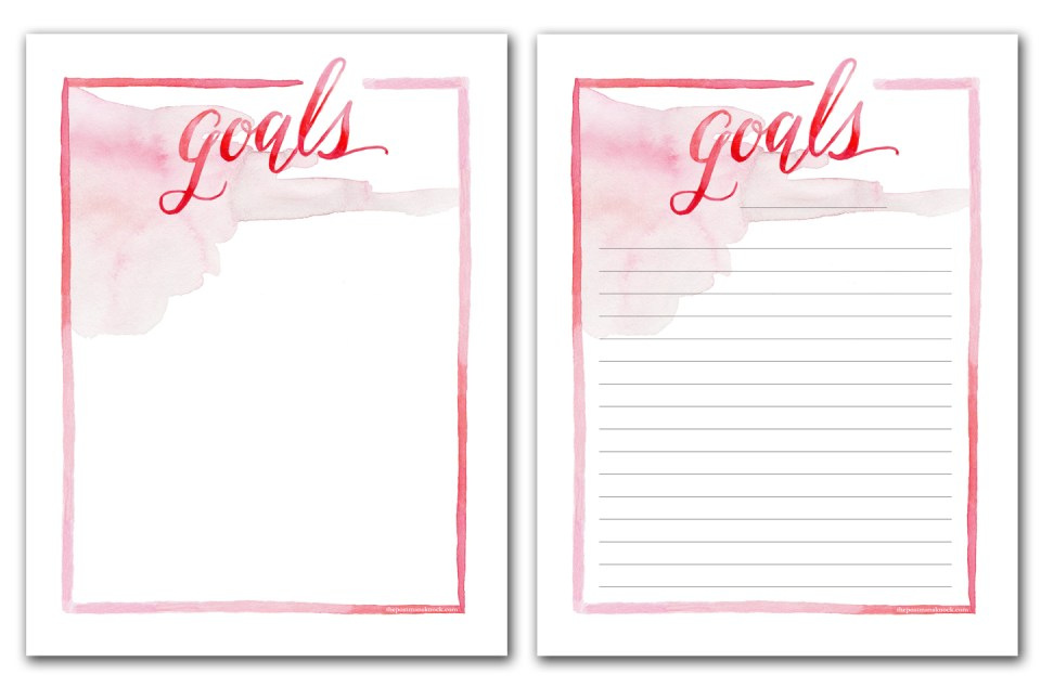 Printable Goal List | The Postman's Knock
