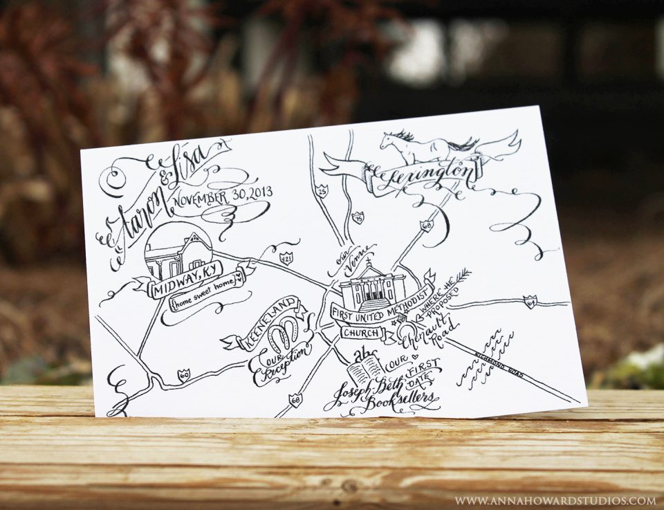 Black and White Calligraphy Wedding Maps | The Postman's Knock