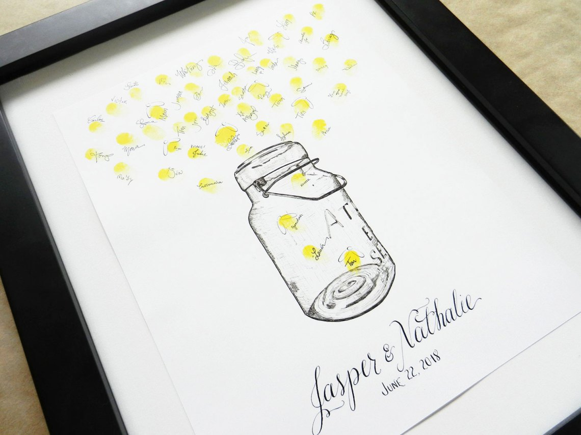 Fireflies and Bell Jar Thumbprint Guest Book | The Postman's Knock