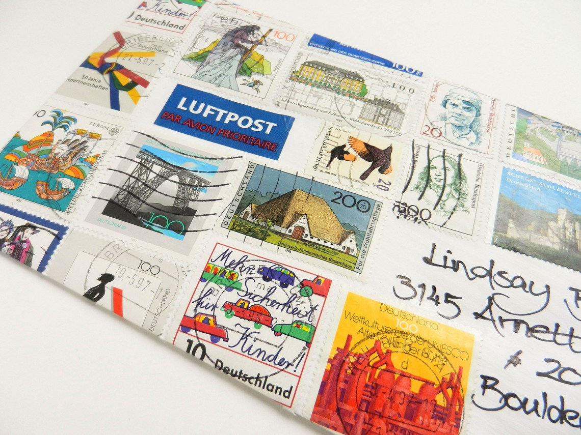 German Stamp Envelope   The Postman's Knock