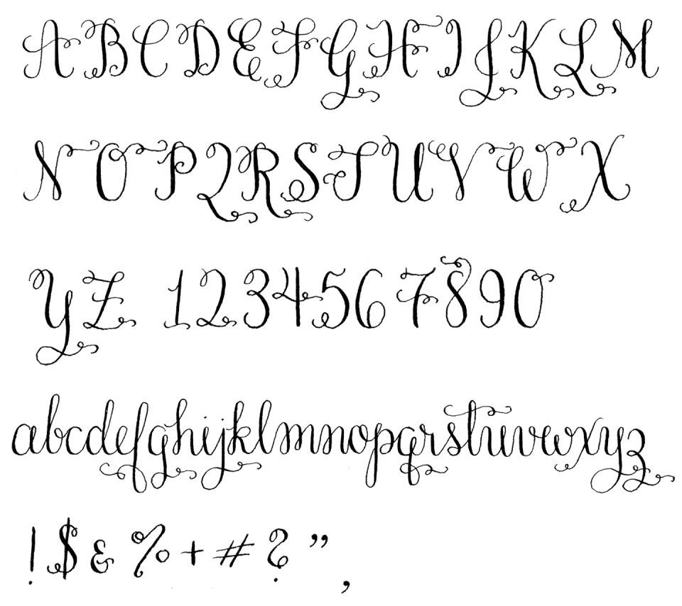 Amy Style Calligraphy Alphabet   The Postman's Knock