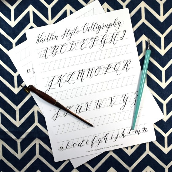 This free basic worksheet shows you what each Kaitlin Style letter looks like. Under each set of characters, you'll find guidelines to practice on.