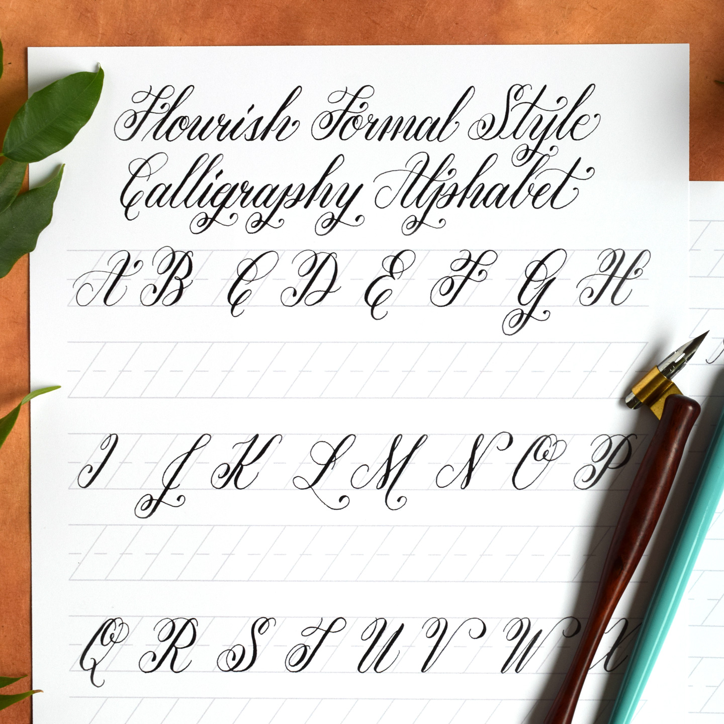 Free basic flourish formal calligraphy worksheet the Calligraphy basics