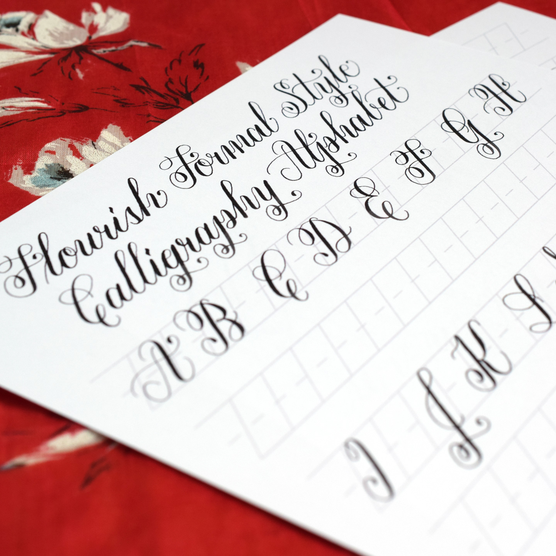 Free Basic Flourish Formal Calligraphy Worksheet