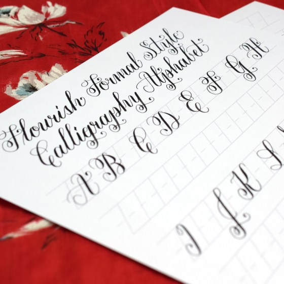 Free Basic {Flourish Formal} Calligraphy Worksheet | The Postman's Knock