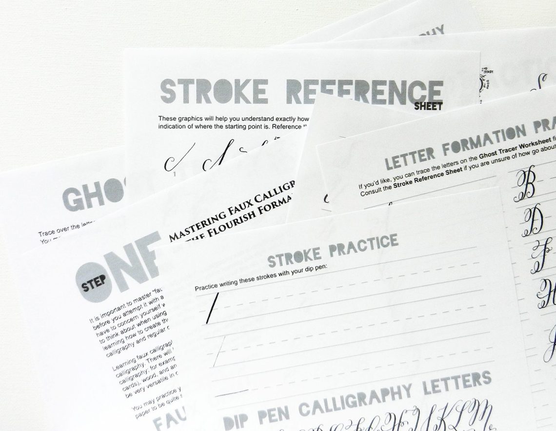 Flourish Formal Style Premium Calligraphy Worksheets | The Postman's Knock