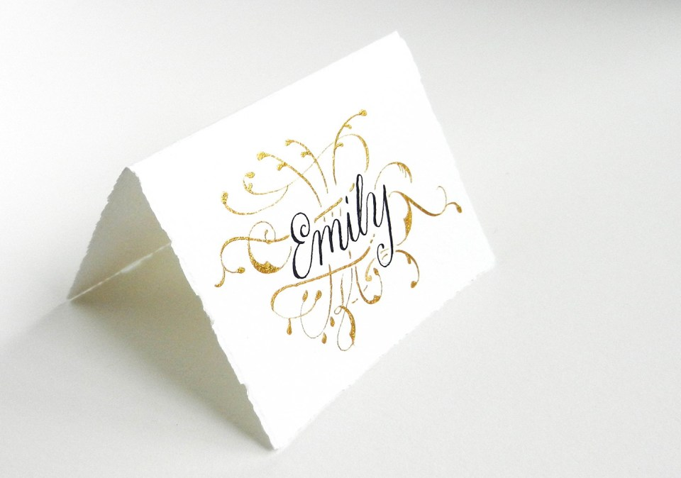 Gold Flourish Place Card | The Postman's Knock