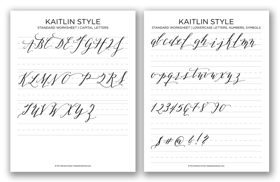 Kaitlin Style Calligraphy Worksheet | The Postman's Knock
