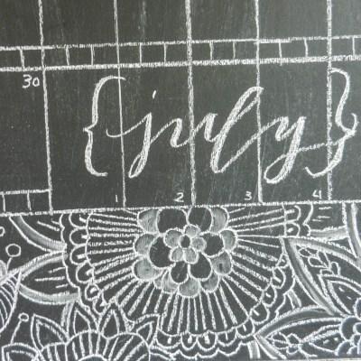 Chalkboard Calligraphy Calendar with Henna