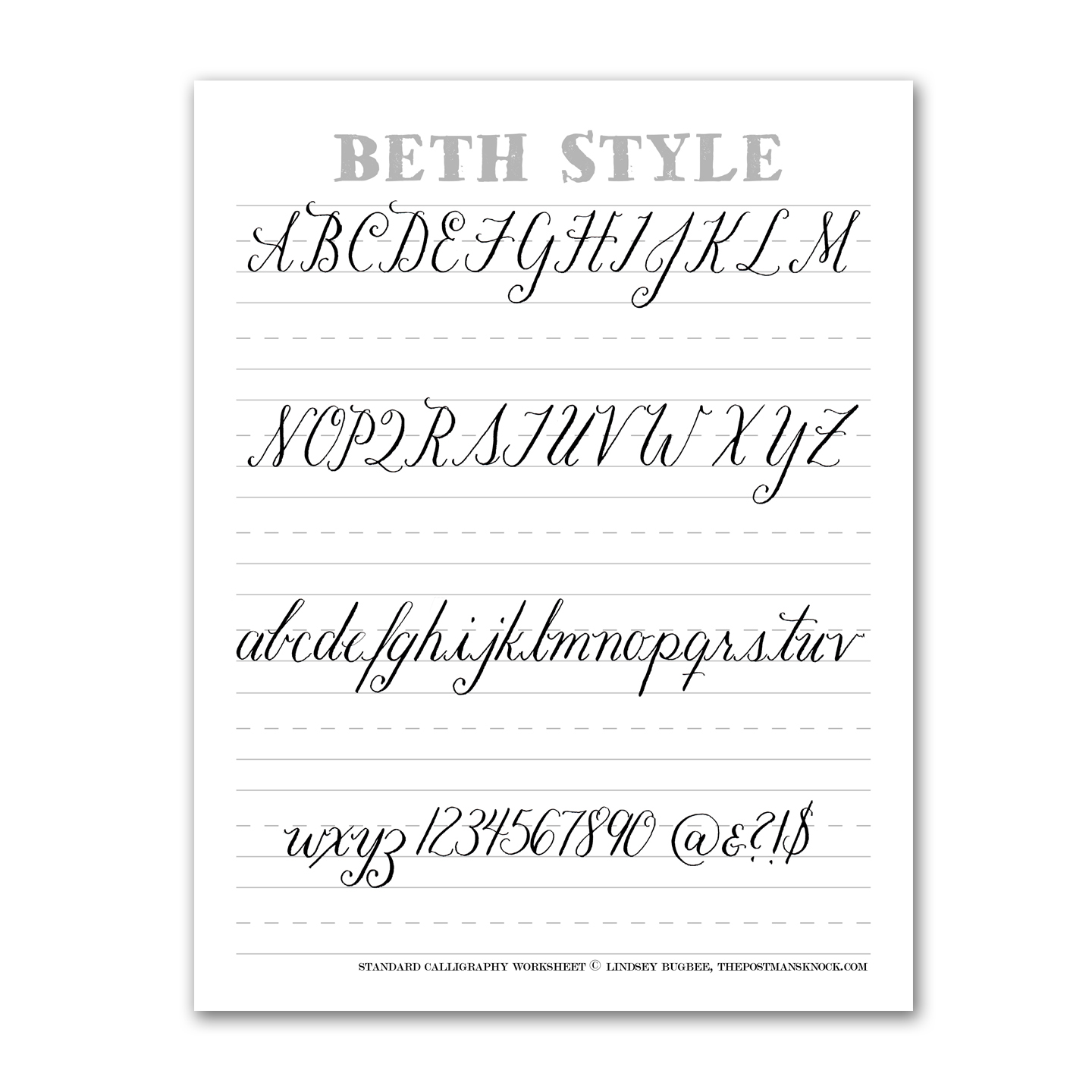 Beth Style Calligraphy Standard Worksheet