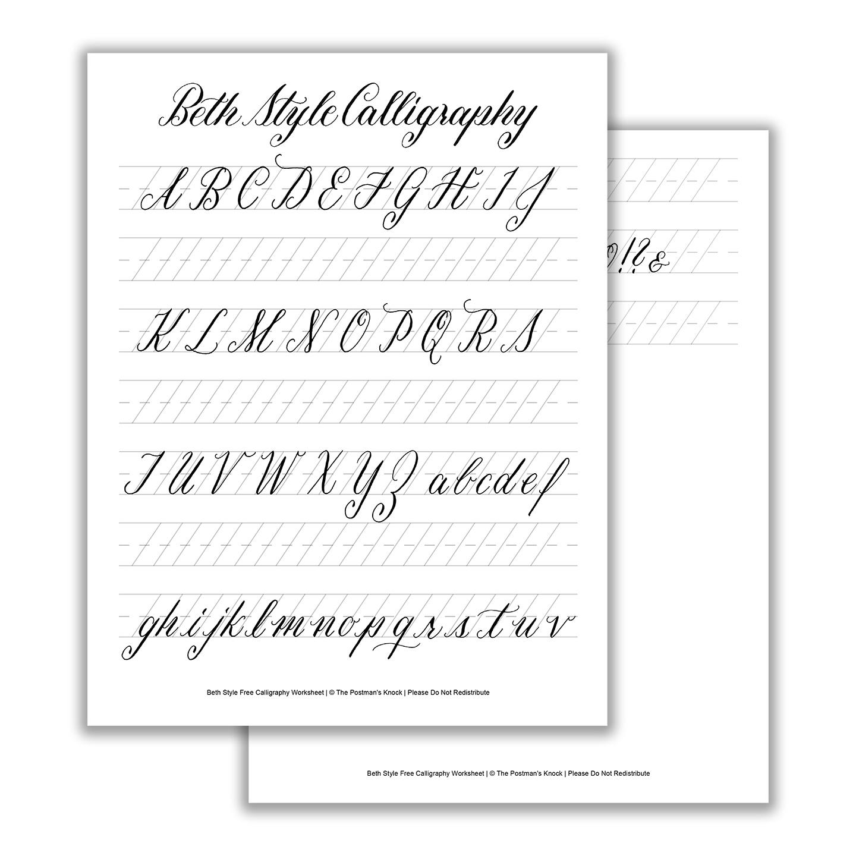 photograph regarding Free Calligraphy Worksheets Printable known as Printable Calligraphy Exemplar - Beth Design