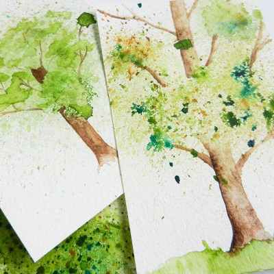 Spatter Watercolor Tree Tutorial