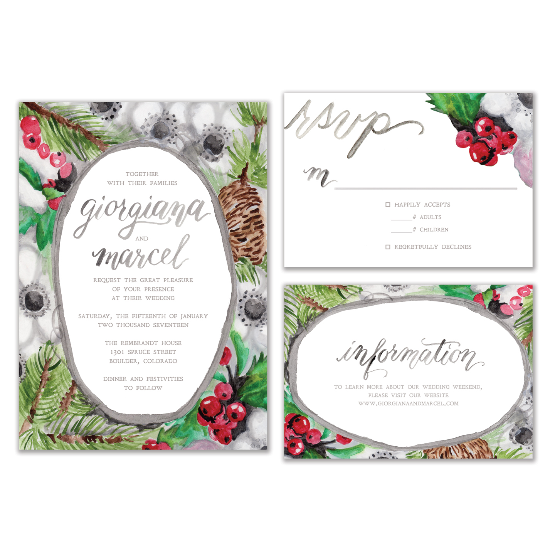 diy watercolor winter wedding invitation suite the postman s knock