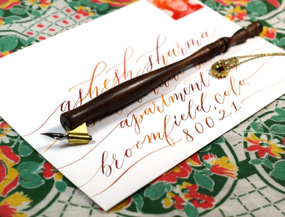 Watercolor Calligraphy Envelope