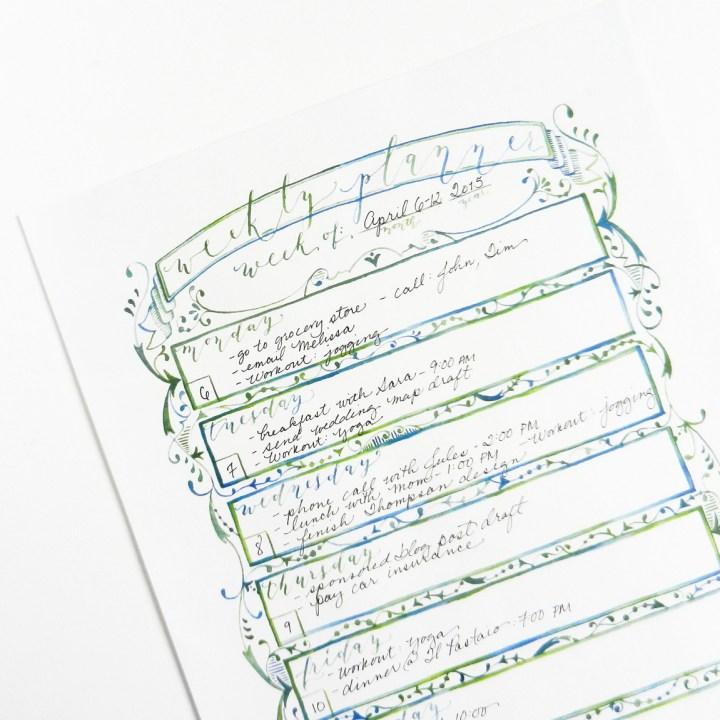 Watercolor Weekly Planner | The Postman's Knock