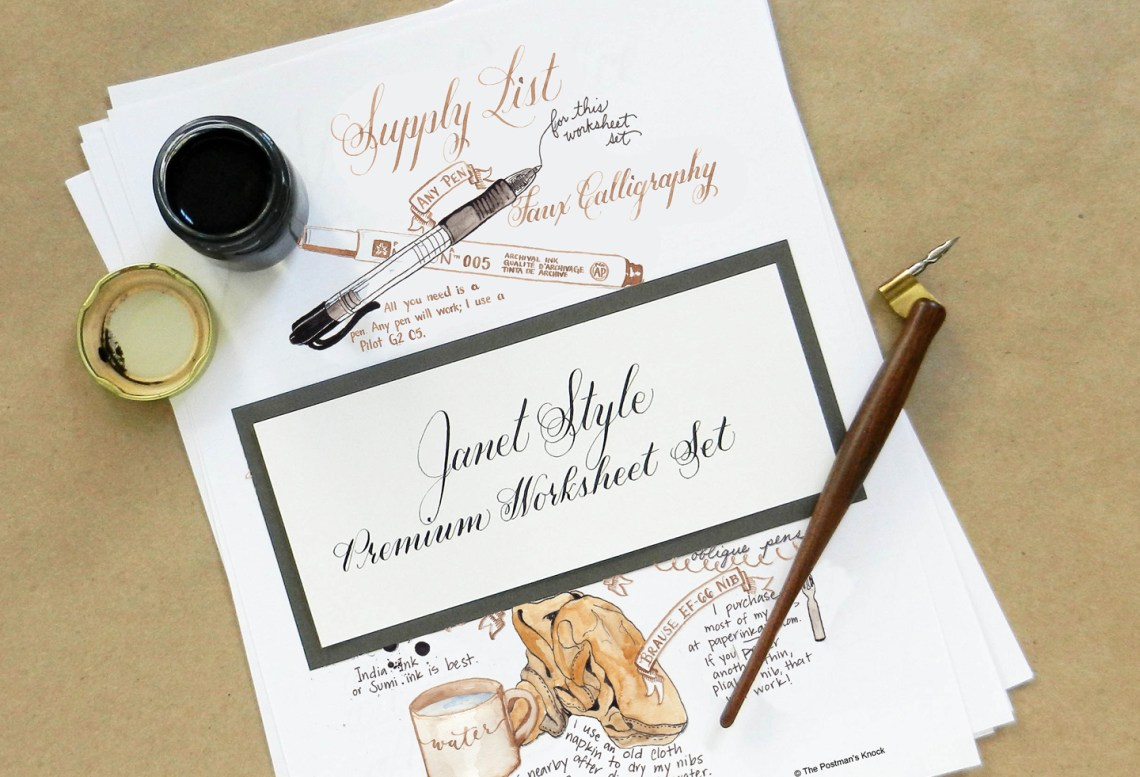 Learn calligraphy for a latté the janet style worksheet