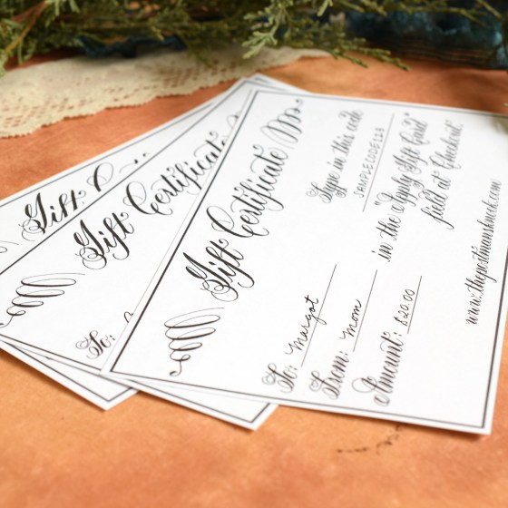 Printable Gift Certificate | The Postman's Knock