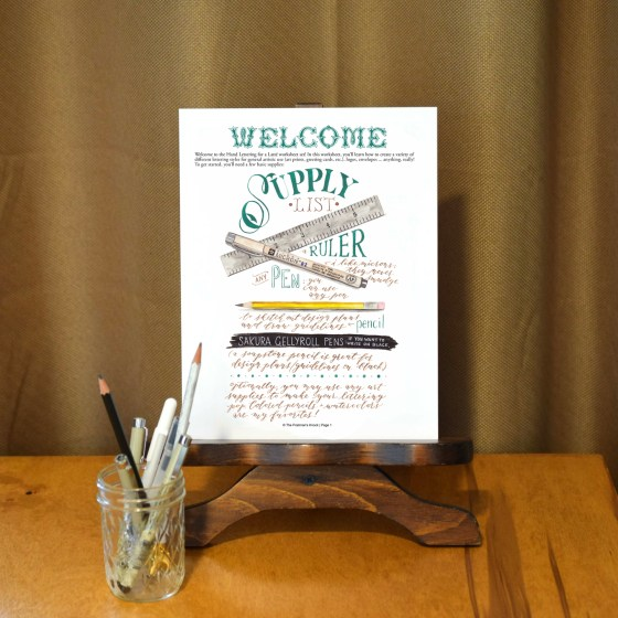 This hand-lettering worksheet set includes a gorgeous illustrated supply list!
